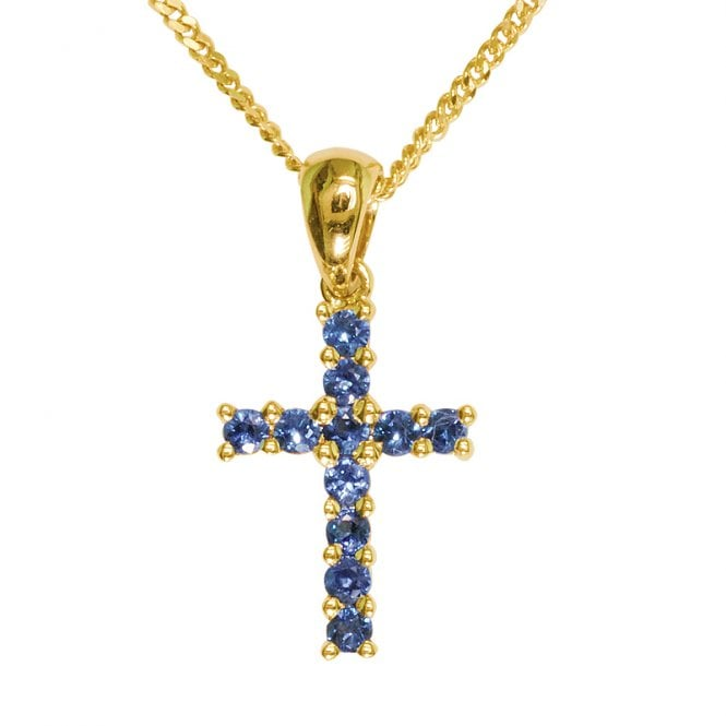 Ladies Shipton and Co Exclusive 9ct Yellow Gold 11 Blue Sapphire rounds in a Cross Pendant including a 16 9ct Chain PYD029BS