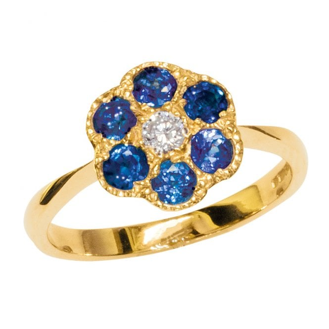 Ladies Shipton and Co Exclusive 9ct Yellow Gold Diamond and Ceylon Sapphire Flower Cluster Ring RYX025CS