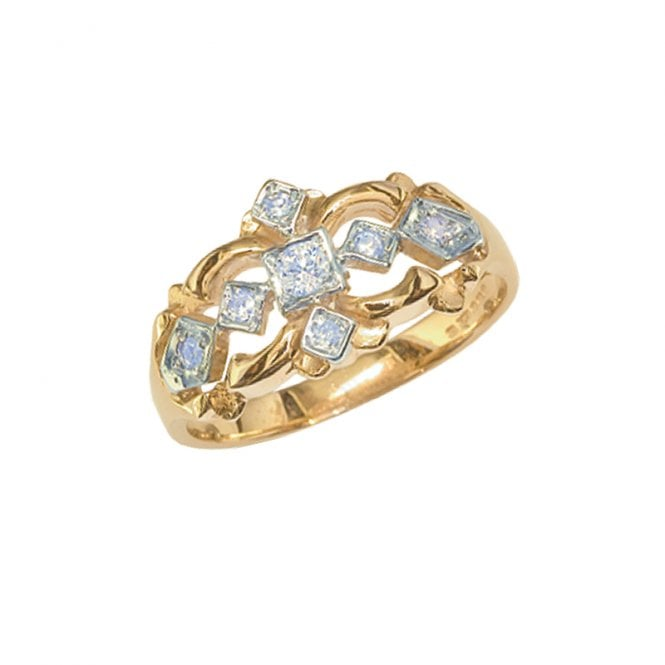 Ladies Shipton and Co Exclusive 9ct Yellow Gold Victorian Deisght 16p 7 Stone Diamond Ring RYX106DI