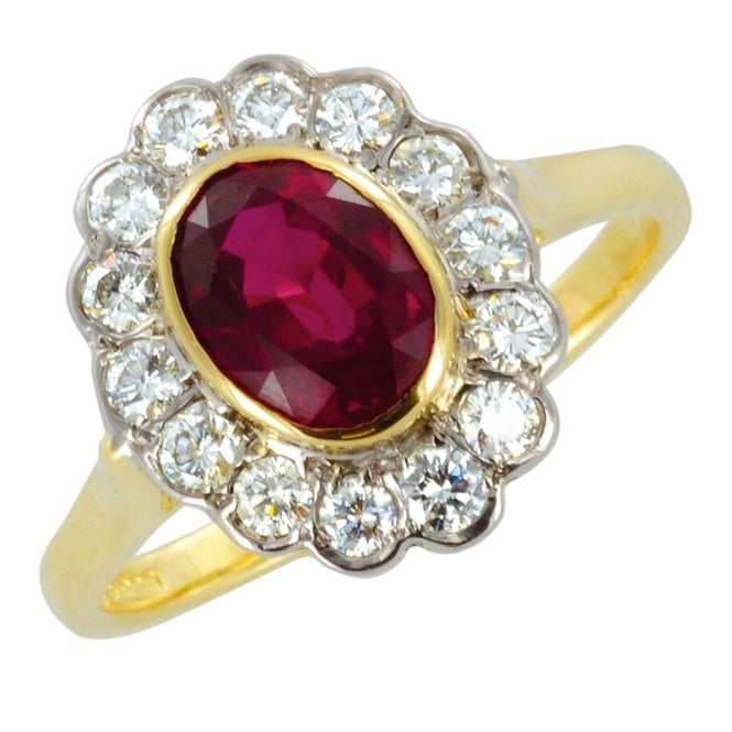 Ladies Shipton and Co Exclusive 18ct Yellow Gold Diamond and Ruby Cluster Ring S07293RUD