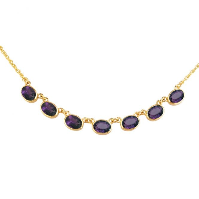 Ladies Shipton and Co Exclusive 9ct Yellow Gold and Amethyst Necklace NY1654AM