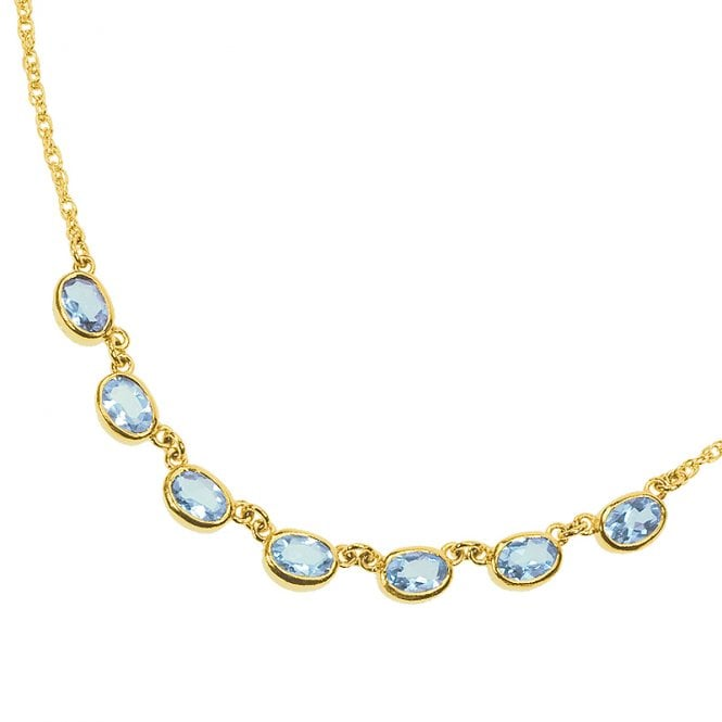 Ladies Shipton and Co Exclusive 9ct Yellow Gold and Aquamarine Necklace NY2079AQ