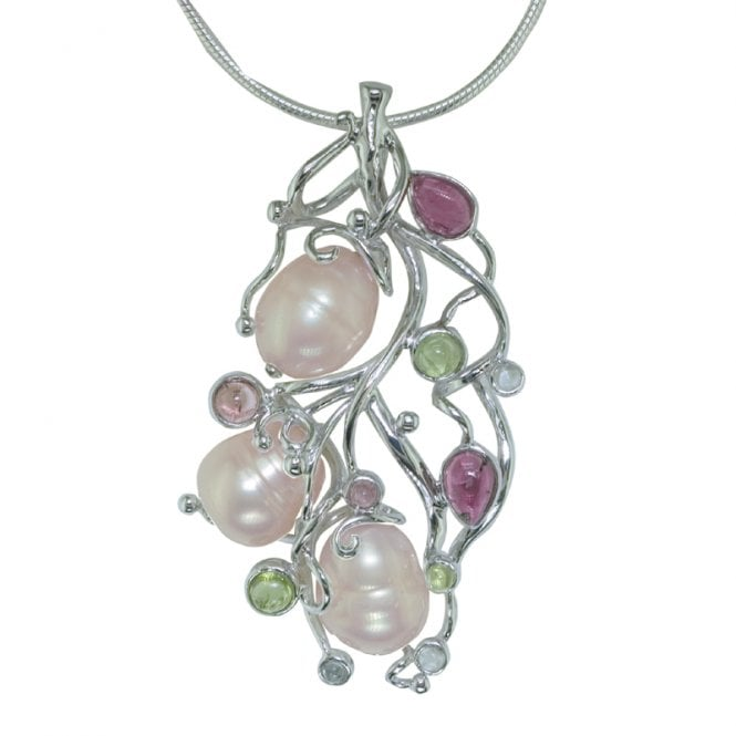 Ladies Shipton and Co Exclusive Silver and Multiple Stone Pendant including a 16 Silver Flexisnake Chain TTL032MU