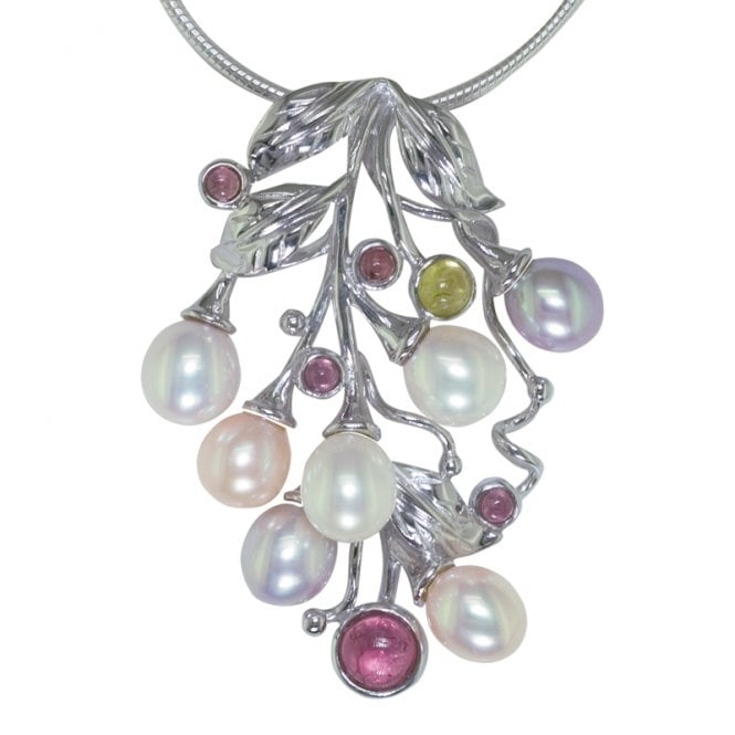 Ladies Shipton and Co Exclusive Silver and Multiple Stone Pendant including a 16 Silver Flexisnake Chain TTL040MU
