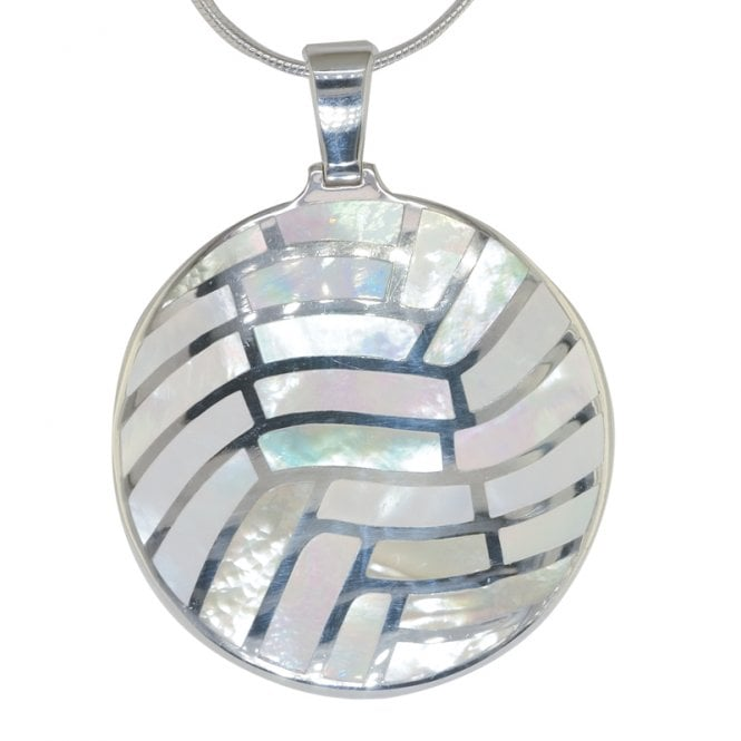 Ladies Shipton and Co Exclusive Silver Mosaic Circle Mother of Pearl Pendant including a 16 Silver Flexisnake Chain TKW116PM