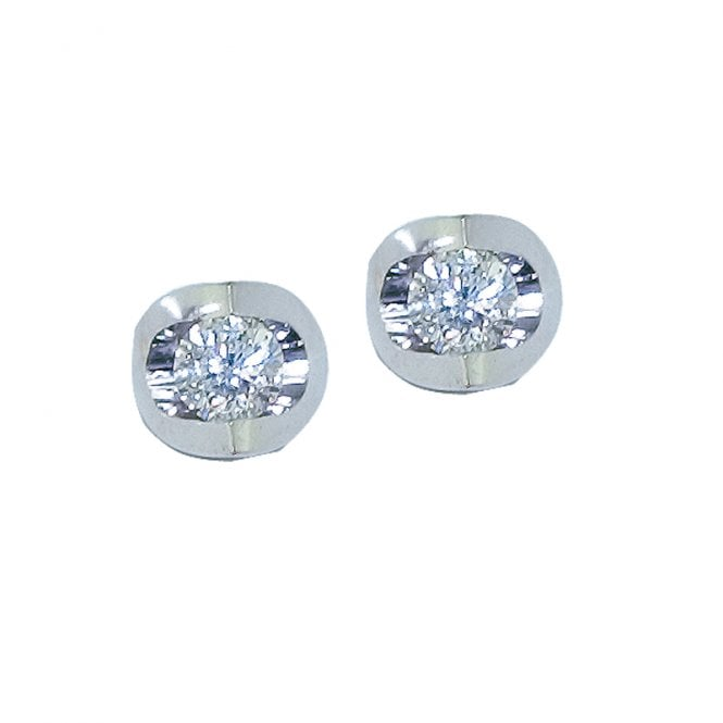 Ladies Shipton and Co Exclusive 9ct White Gold Scoop Mount Diamond Earrings TJS012DI