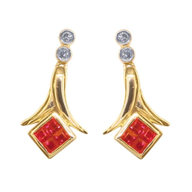 Ladies Shipton and Co Exclusive 9ct Yellow Gold Diamond and Square Ruby Drop Earrings TPL319RUD