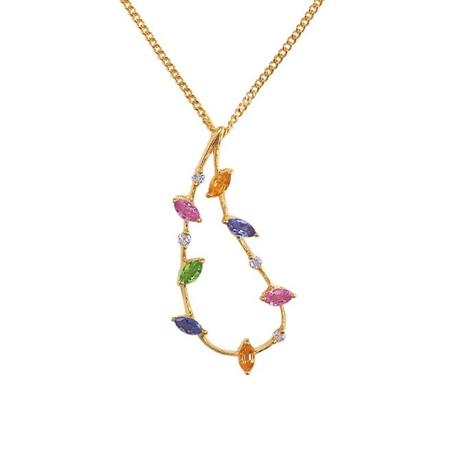 Ladies Shipton and Co Exclusive 18ct Yellow Gold and Multiple Stone Pendant including a 16 9ct Chain TMS006MU