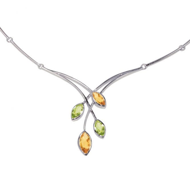 Ladies Shipton and Co Exclusive Silver and Multiple Stone Peridot Necklace NQA165MU4