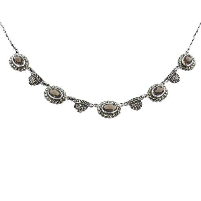 Ladies Shipton and Co Exclusive Silver and Smokey Quartz Necklace NQ0775SQ