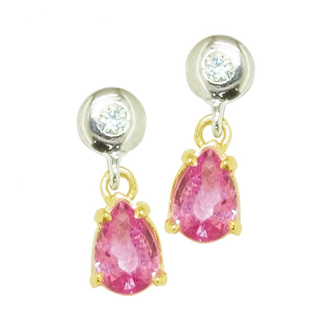Ladies Shipton and Co Exclusive 9ct Yellow Gold Diamond and Pearshaped Pink Sapphire Earrings EYX138PS
