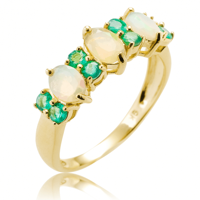 9ct Gold Ring with 1.40cts of Opal and Emerald