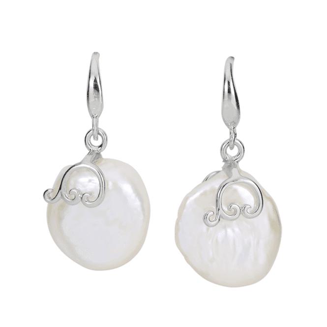 Button Pearl Earrings in Silver Swirls