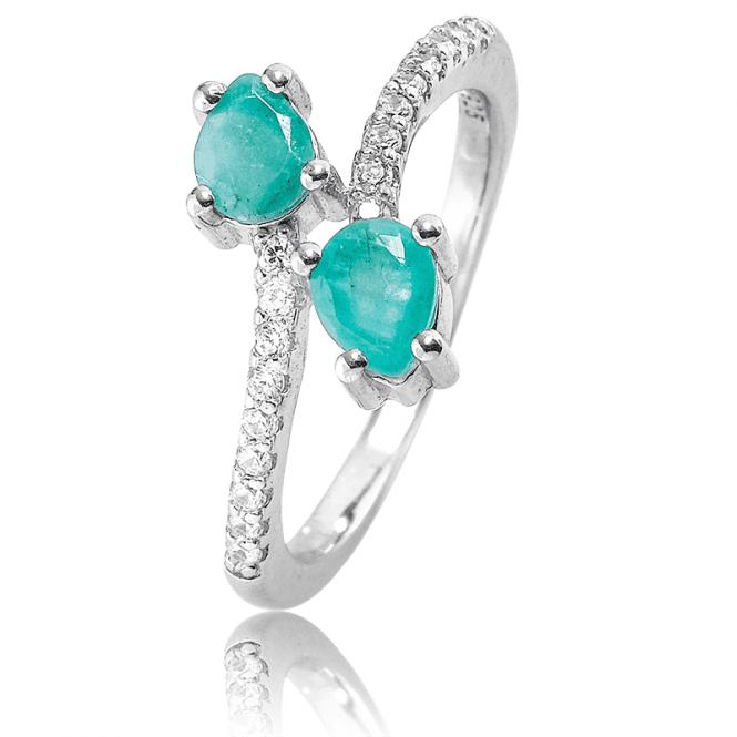 Elegantly Entwined Emerald & White Topaz Ring