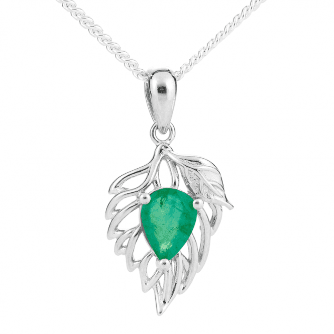 Emerald & Silver Leaf Pendant