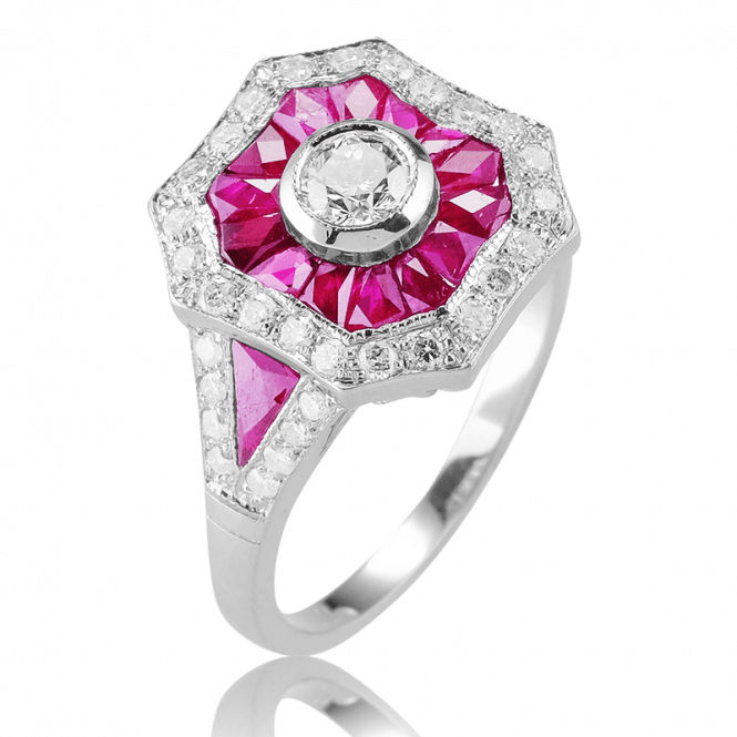 Art Deco 18ct White Gold Ring with over 2cts of Ruby & Diamond