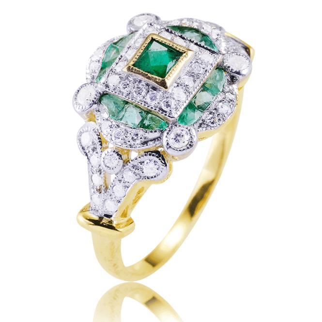 Regency 9ct Gold Ring Layers 1ct of Emeralds & Diamonds