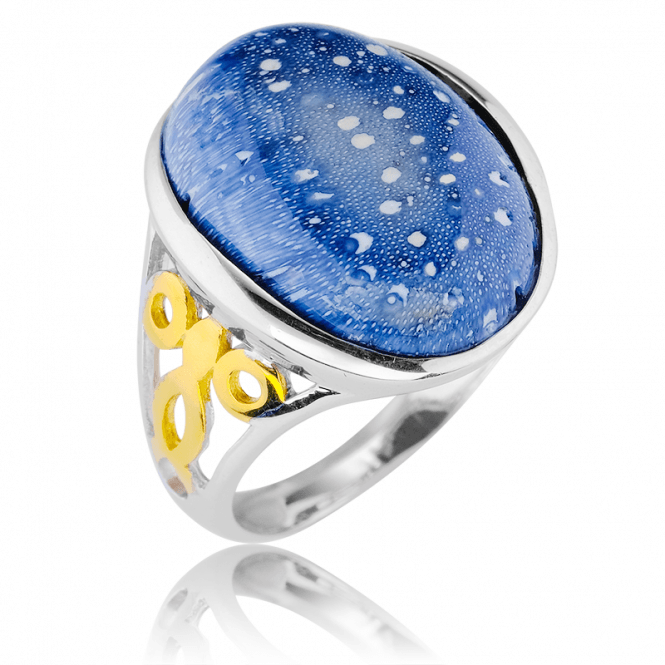 Blue Sponge Coral Cabochon Ring Touched by 18ct Gold