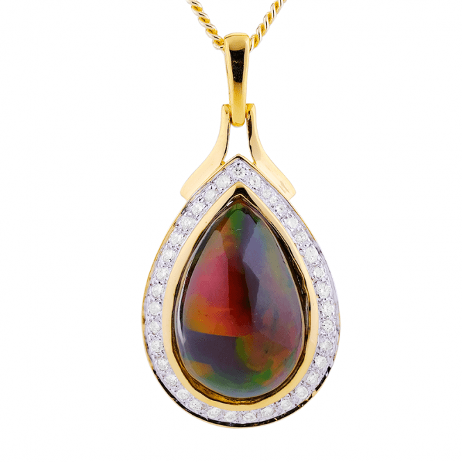 Regal Gold Pendant set with 2.85cts of Fabulous Black Opal