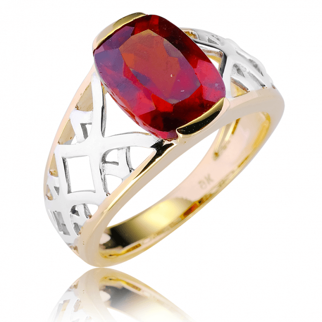 9ct Gold Firecracker Setting for 4cts of Hessonite Garnet