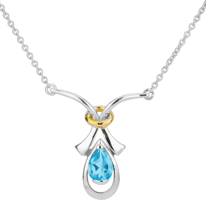 Bright Eye of Blue Topaz in an Oriental Setting