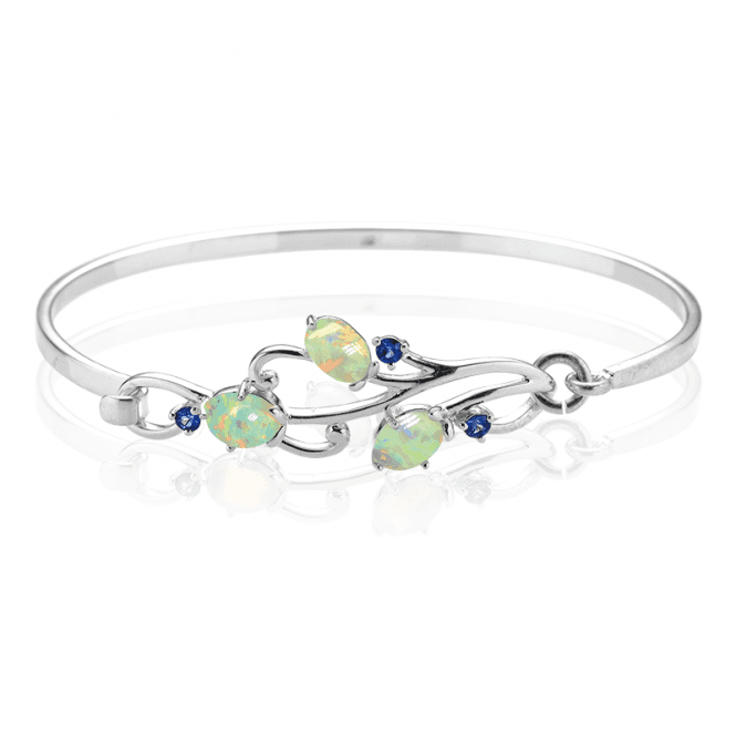 Bouquet Bangle with 2.2cts of Opal & Sapphire