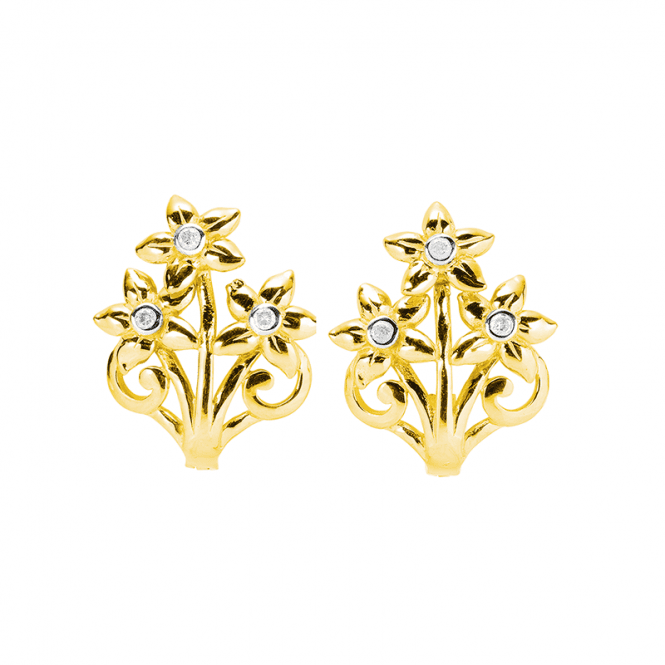 Diamond Studded Flower Clip Earrings