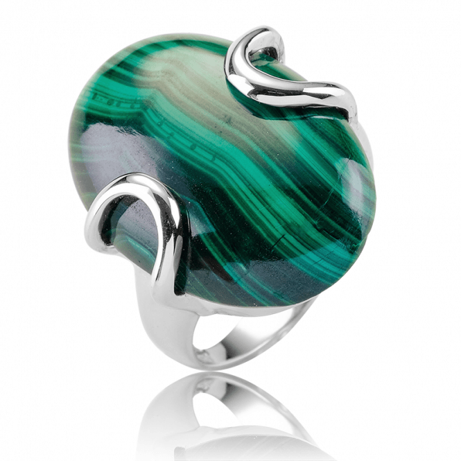 12cts Malachite Ring of Stylish Silver Modernity
