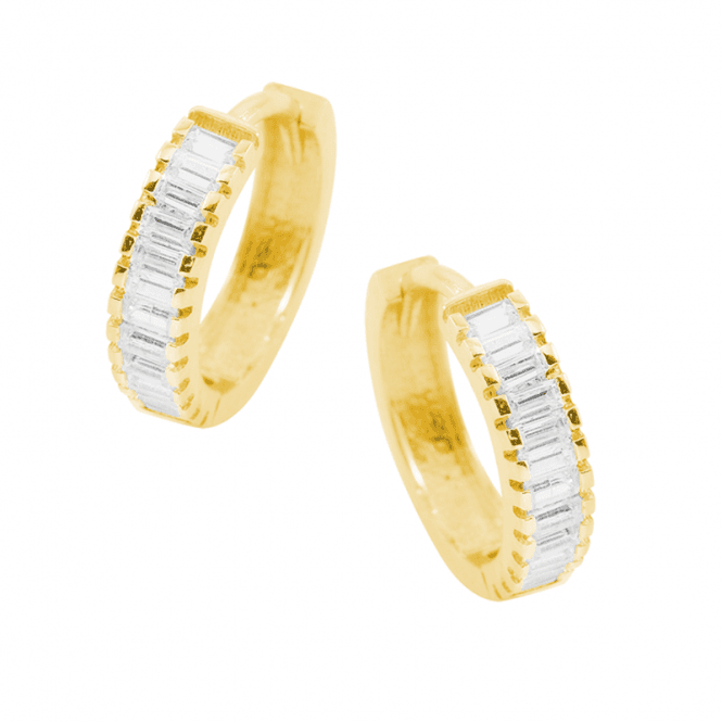 9ct Gold Hoops with Secret Baguette Sparkle