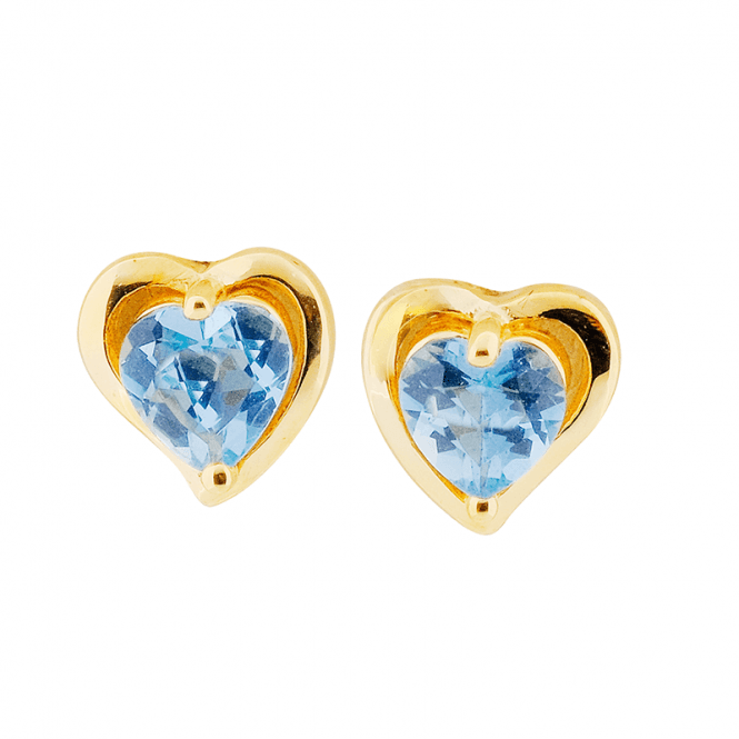9ct Gold Heart Studs with Aquamarine