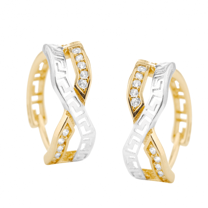 9ct Tonal Gold Hoops with a Sparkling Kiss