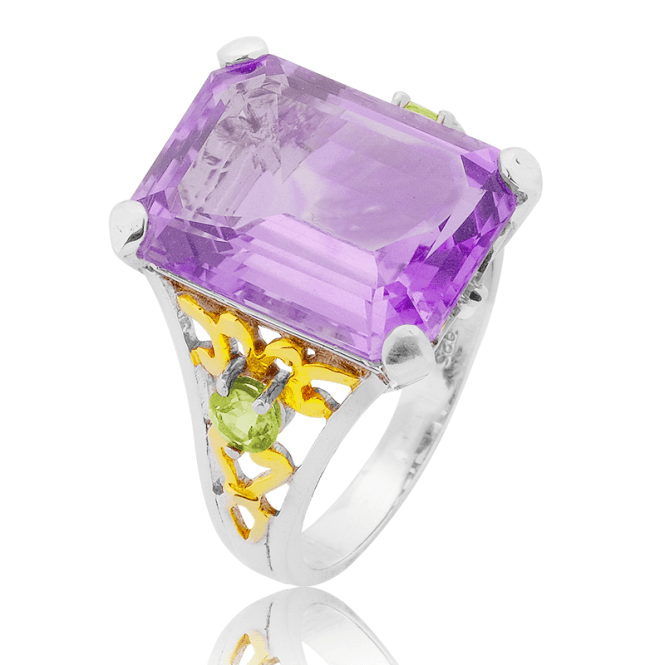 10ct Brazilian Amethyst with Peridot Contrasts