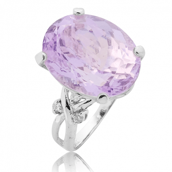 13cts of Kunzite with 18ct White Gold & Diamonds