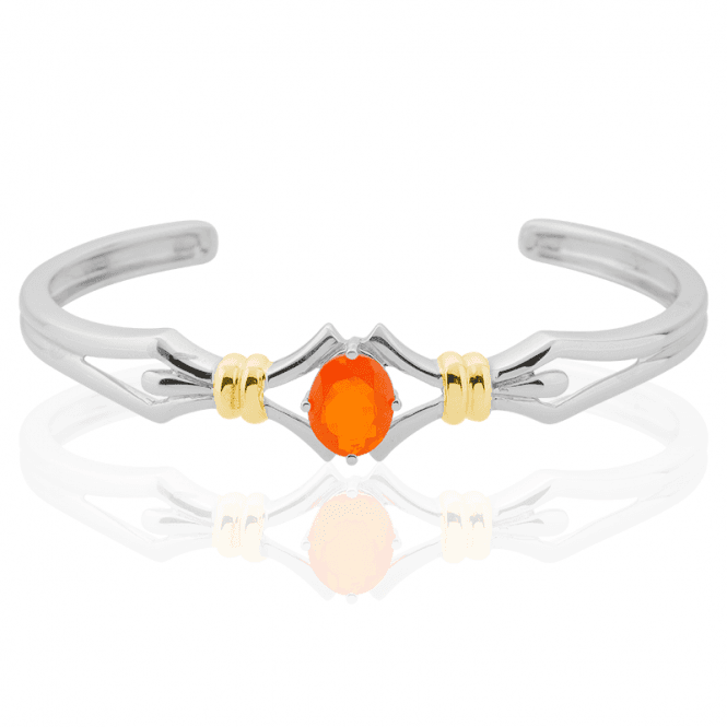 Gold-Kissed Cuff Bangle of Sizzling 1ct Fire Opal
