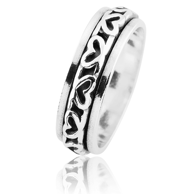 Full Eternity Hearts Ring with a Soothing Spin