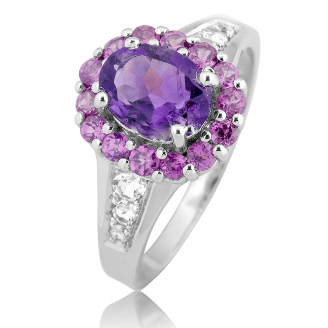 21-Jewel Cluster with 2.1cts of Amethyst & Rhodolite