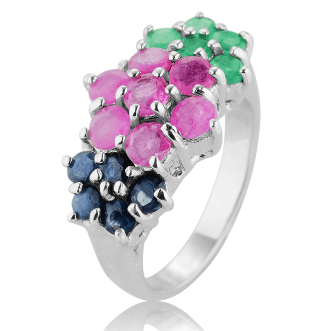 1.4ct Flower Ring of Bright Ruby, Emerald & Sapphire