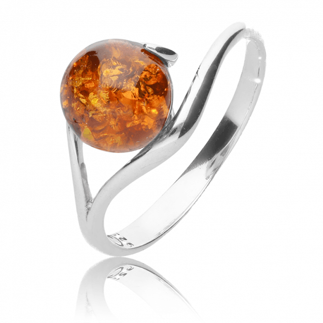 1½ct Amber Fireball in a Sleek Silver Ring