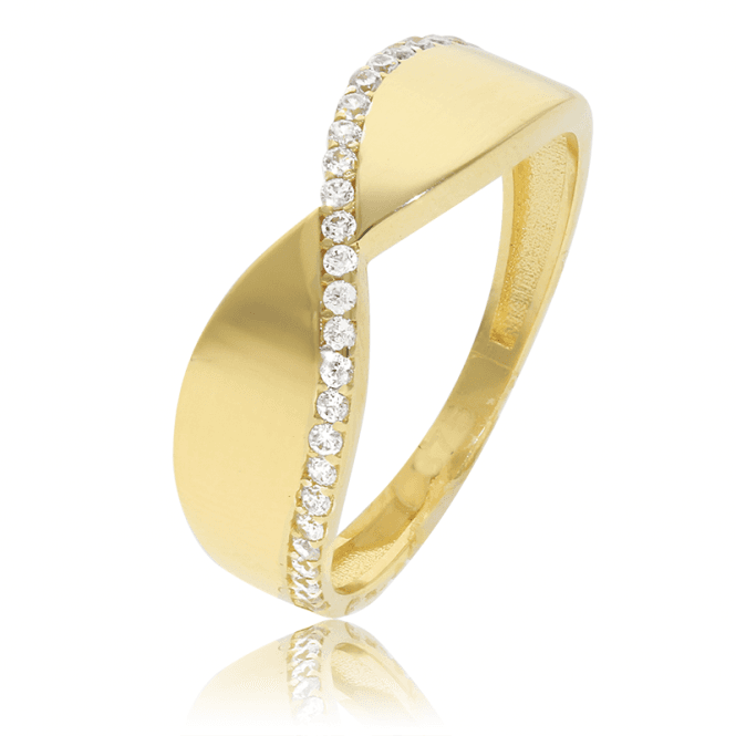 Cresting CZ Wave Ring of 9ct Gold