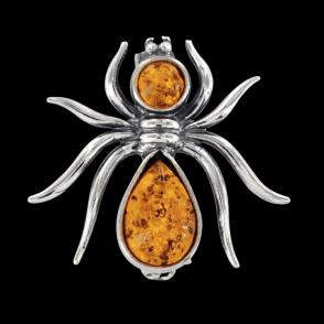 Silk-Spinner Brooch of Polished Amber