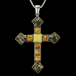 "Ladies Shipton and Co Exclusive Silver and Multi Coloured Amber Cross Pendant including a 16"" Silver Flexisnake Chain TPT061AB"
