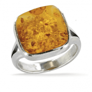 Ladies Shipton and Co Exclusive Silver and 14mm Cushion Amber  Ring TAS008AB