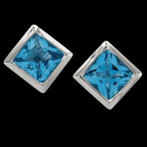 Sil 5mm Sq. E/R Blue Topaz