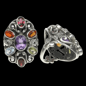 Ladies Shipton and Co Exclusive Silver and Multiple Stone Peridot Ring RQ1483MU1