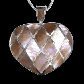 Ladies Shipton and Co Exclusive Silver Harlequin Heart Mother of Pearl Pendant including a 16 Silver Flexisnake Chain TKW241PM