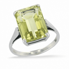 Ladies Shipton and Co Exclusive Silver and Green & Yellow Quartz Ring RQ2291GQ