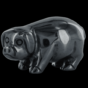 Ladies Shipton and Co 2 Hematite Pig Carving CMH006HM