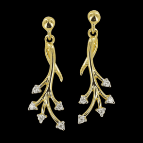 Ladies Shipton and Co Exclusive 9ct Yellow Gold Day to Evening Design Gold Diamond Drop Earrings EYD060DI