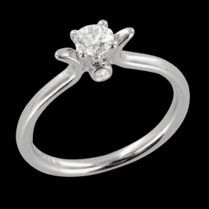 Ladies Shipton and Co Exclusive 18ct White Gold Diamond Shouldered Solitaire Ring S08620DI
