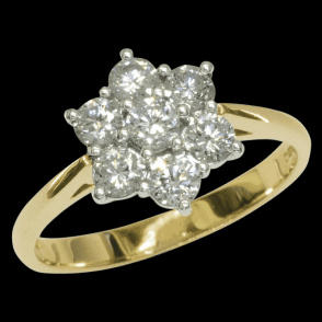 Ladies Shipton and Co Exclusive 18ct Yellow Gold Three Quarter Carat Flower Diamond Cluster Ring S08054DI